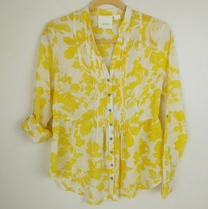 Maeve Golden Yellow Floral Flowy Top Womens Size 4